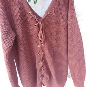Forever 21 contemporary rust brown lace up sweater